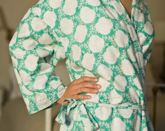 Hand-printed Cotton Dressing Gown