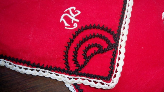 4 French Red Tea Napkins Monogram Handmade  Cotton Black and White Lace Trimmed #sophieladydeparis