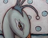 "ORIGINAL mixed media bird  art  ""Snow Queen"" 12"" by 24"""