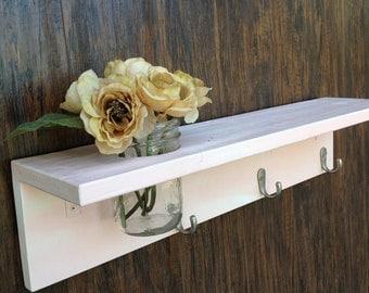 shabby chic shelf with mason jar and 3 hooks