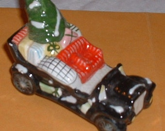 China Antique Roadster Christmas Car Figurine 1980's Collectible Loaded with Christmas gifts and tree