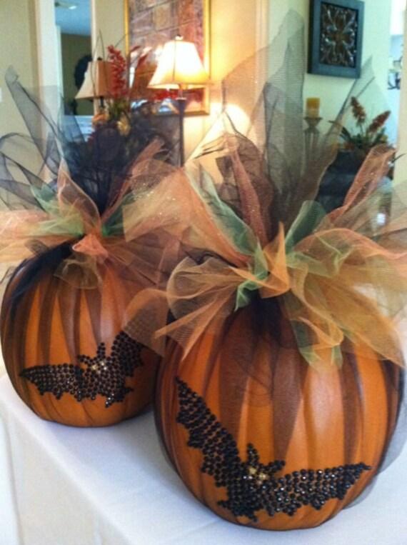 Halloween decor halloween centerpiece faux craft pumpkin for Pumpkin table decoration ideas