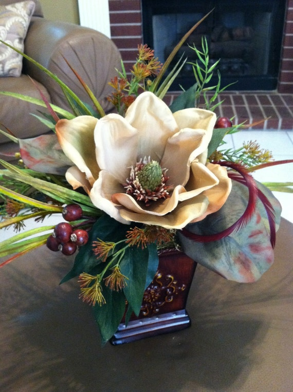 Small Accent Table Silk Floral Centerpiece Traditional