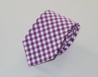 Men's Purple Gingham Tie
