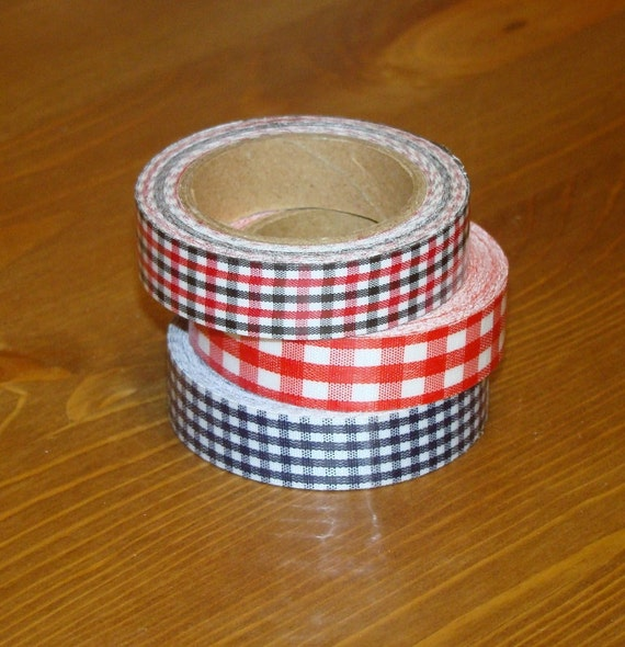 Fabric Tape Roll 3 Set Gingham Red Blue Black Stationary Deco