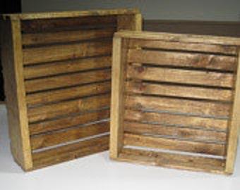 Wooden Crate Wall Hangings- set of 2- pecan color