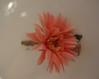 Boutonniere in coral gerber daisy