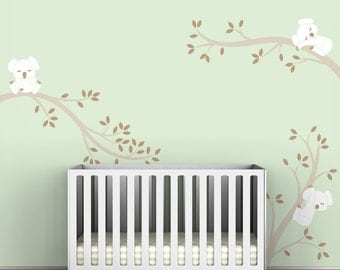 Baby Wall Decal Room Decor Nursery Walls White and Beige - Koala Tree Branches by LittleLion Studio