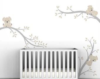 Baby Nursery Wall Decal Pastel Colors Baby Decor Beige Gray Wall Sticker - Koala Tree Branches by LittleLion Studio