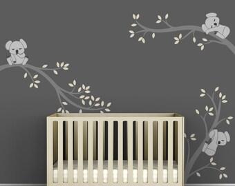Kids Room Decal Decor Baby Nursery Modern Grey Wall Sticker - Koala Tree Branches by LittleLion Studio