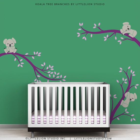 Items similar to kids wall decal room decor lavender and violet baby koala playroom koala tree - Stickers koala chambre bebe ...