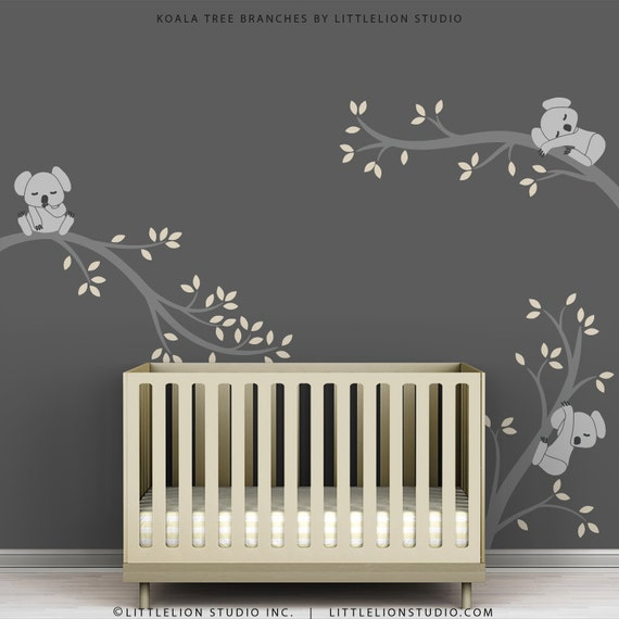 Kids room decal decor baby nursery modern grey by for Baby room decoration stickers
