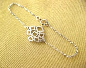 Dainty Bracelet - Sterling Silver Bracelet with Matt Rhodium Connector - geometric bracelet - Layering Bracelet