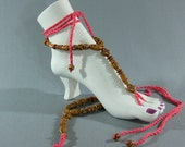 Barefoot Sandals - Polynesian Foot Thongs - Tiki - Beads - Anklets - Coral - SS-117
