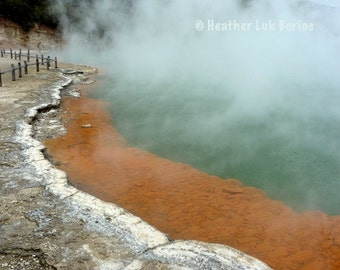 New Zealand Photography - Mud Pool - Rotorua - Wall Decor - Kiwi Fine Art Print, Orange, Green, Teal