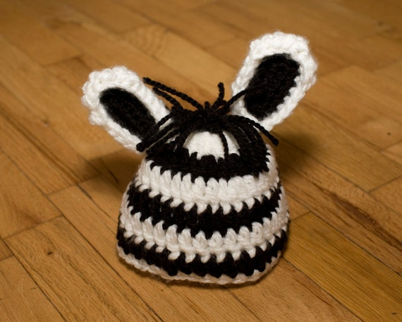 Crochet Zebra Hat : Pattern Zebra Baby Hat, Zebra Crochet Pattern, Quick and Easy, Beanie ...