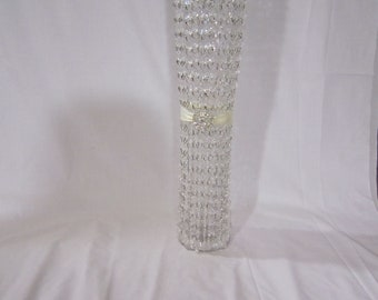 Glam Wedding Centerpiece - Tall Crystal Centerpiece - Glass Vase with Bling