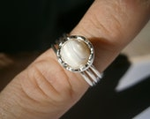 Ring, Mother Of Pearl Ring, Silver Ring, Wrapped Ring, Dainty Ring, Handmade Ring