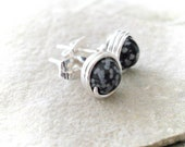 Earrings - snowflake obsidian post earrings silver wire wrapped - black grey - handmade earrings