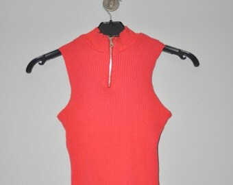 Clubkid 90s Ribbed Zip Turtleneck Red Grunge Rock Chic Sleeves Top