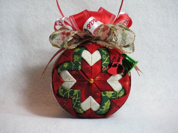 Items similar to quilted no sew fabric christmas ornament