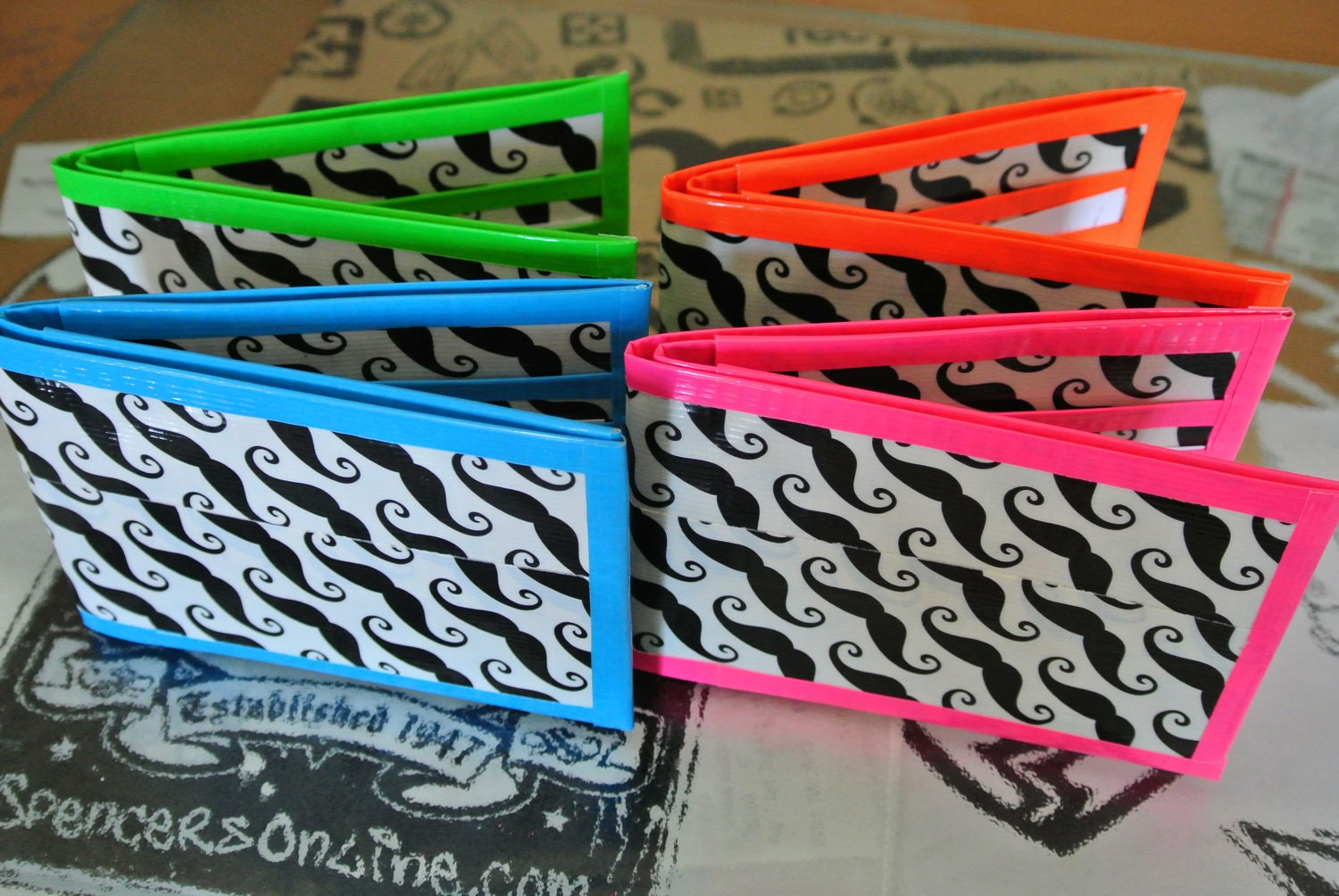 Mustache Duct Tape Wallets by TaylordGoods on Etsy