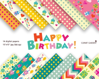 14 Happy Birthday Digital Papers Pack (seamless pattern). (paper crafts, card making, scrapbooking)