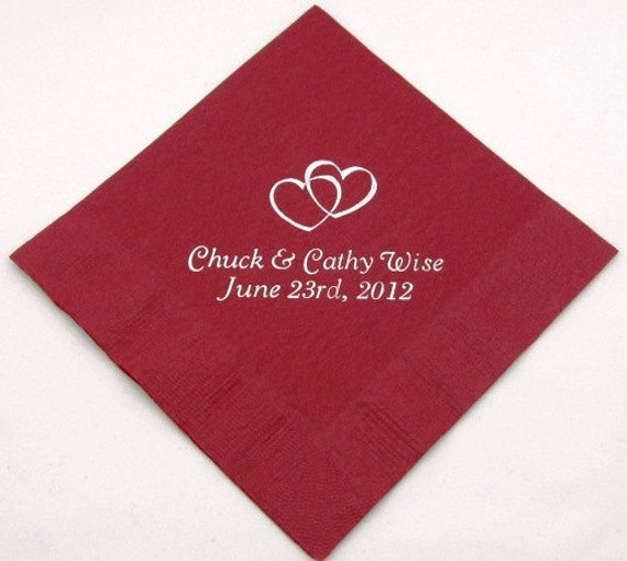 50 personalized beverage napkins wedding favors by