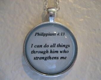 Scripture Necklace Bible Verse Philippians 4:13
