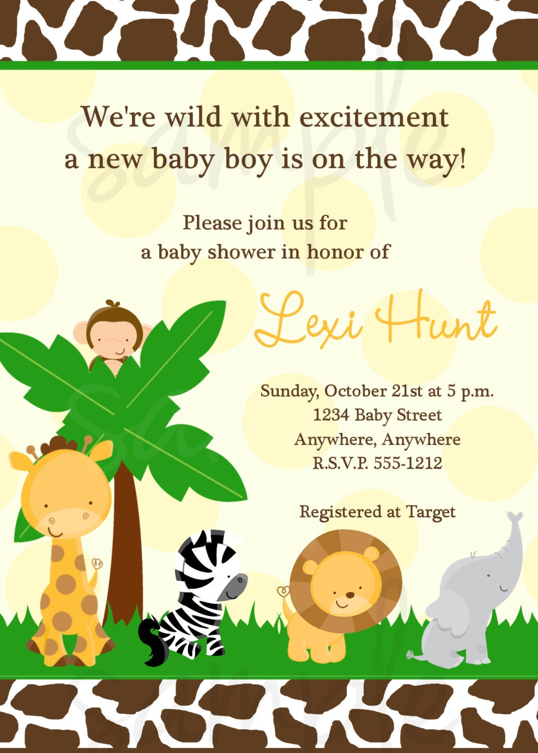 safari jungle baby shower invitation by lovelifeinvites on etsy