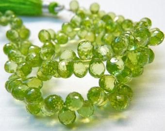 AA Quality Green Peridot Briolette, Tear Drop Shape, , 4x6 to 5x7 mm Approx.,Faceted