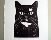 Patch, Linocut cat print, limited edition of 50, signed and numbered