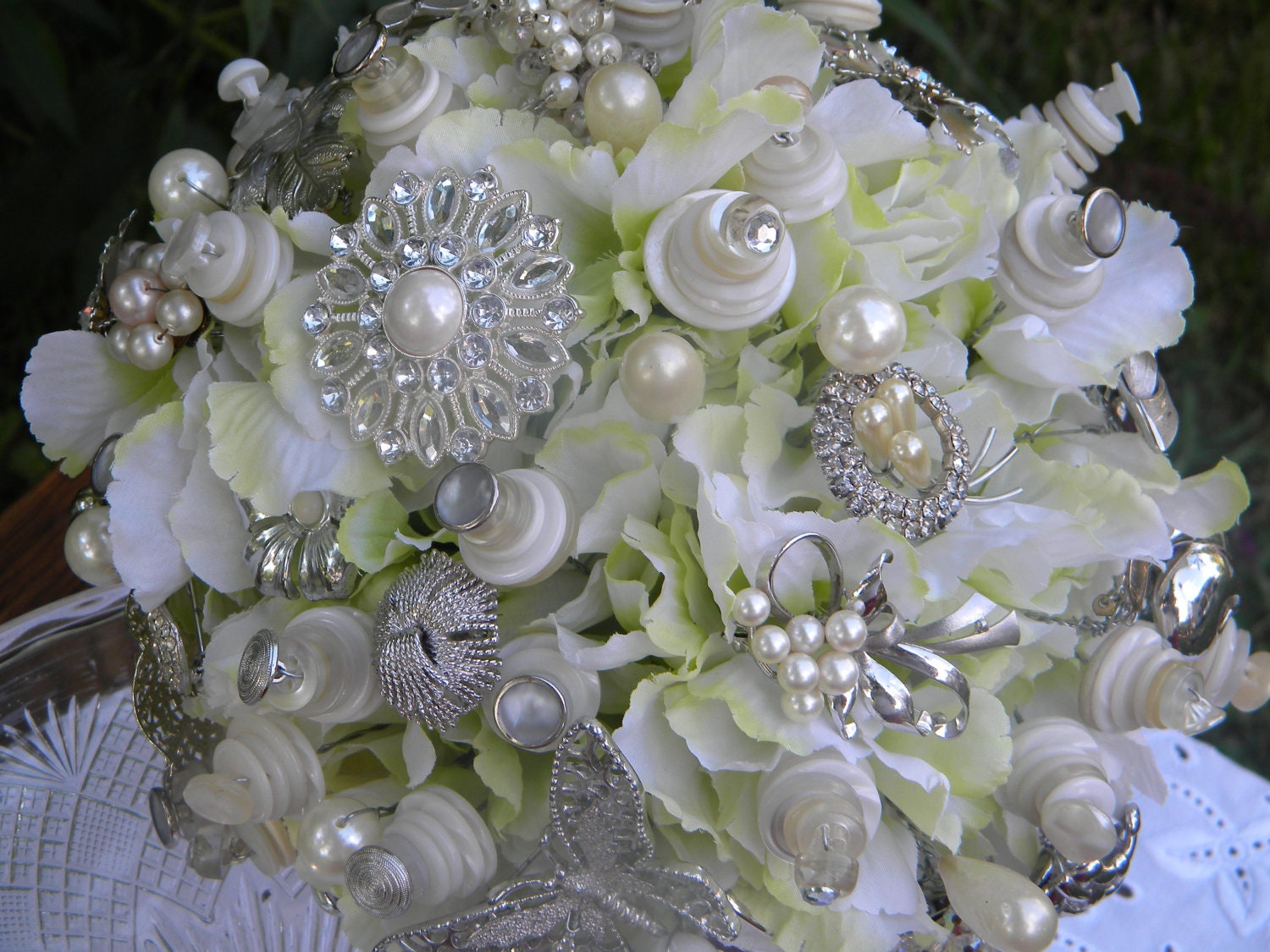 Bridal Flowers With Bling : Bling wedding bouquet by josiegirlbouquets on etsy