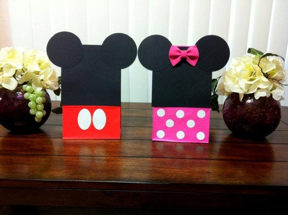 10 treat bags half Minnie mouse bags & half Mickey mouse bags PARTY FAVORS loot bags birthday party 3d bow