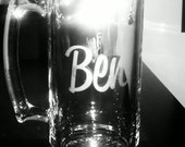 Monogram Etched Glass Large Beer Mug