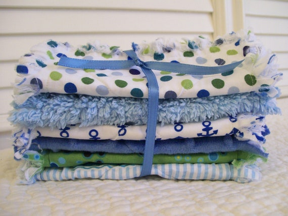 Boy Burp Cloths Rag Quilts Style Sea Blue Sailboats Anchors Babies Christmas Gifts Ready To Ship