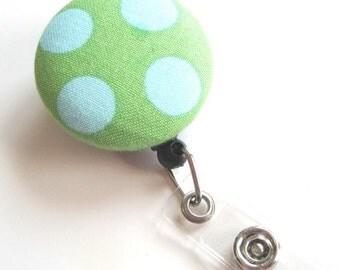 Retractable ID BADGE Reel Holder, Lanyard-Cute Green Teal Polka Dots