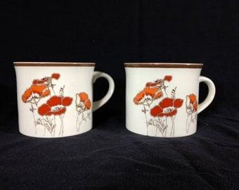 Vintage Lambethware Royal Doulton Fieldflower Cups, Set of 2