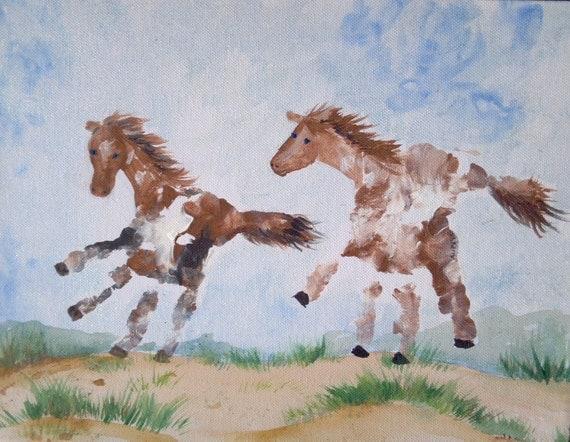 Custom hand print or foot print art artwork painting keepsake for Making prints of paintings