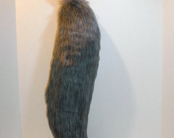 23in Faux Fur Grey Wolf Tail Costume Cosplay Accessory