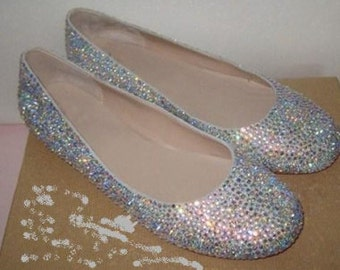 Trendy and comfortable crystal ballet flats for the bride, bridesmaid, prom, etc