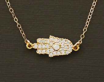 Gold Sideways Hamsa Necklace