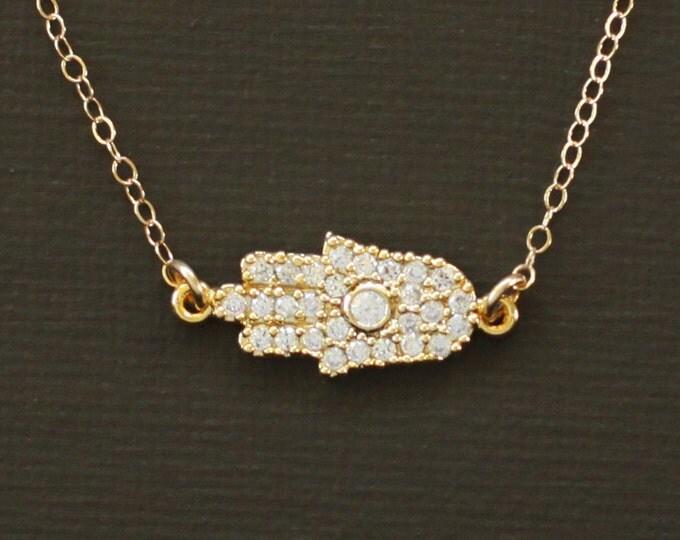 Gold Sideways Hamsa Necklace