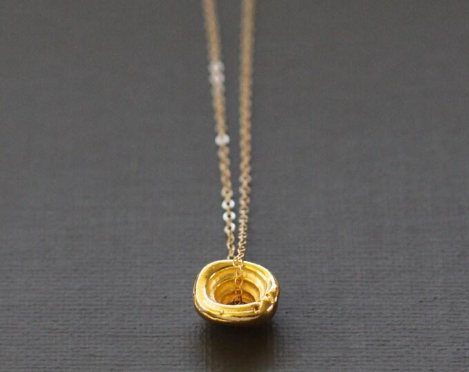 Large Gold Hawaiian Puka Shell Necklace