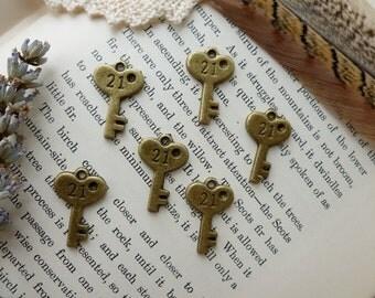 6 x Key Charms, Antique Brass Pendants