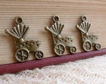 SALE 8x Vintage Pram Charms, Antique Brass Pendants C223
