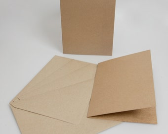 Recycled Brown Kraft Card Blanks with matching envelopes A5