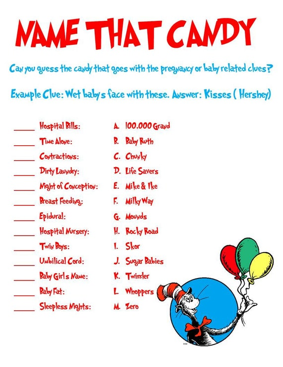 Dr seuss shower game name that candy for Food bar games free online