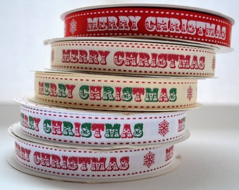 6 yards of Merry Christmas Ribbon