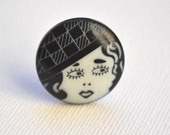 Art Deco Retro Buttons, 1 inch Black and White